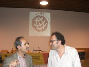 Rafaél Romero con Pablo Soler momentos antes de la presentación.