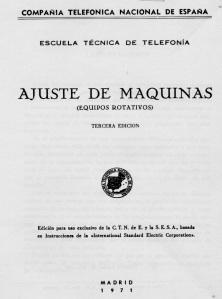 Portada del Manual de Ajuste de Máquinas (Equipos Rotativos) 1971