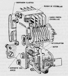 """Conmutador Paso a paso tipo 57259. Figura del manual """"Ajuste de Máquinas"""" 1971"""