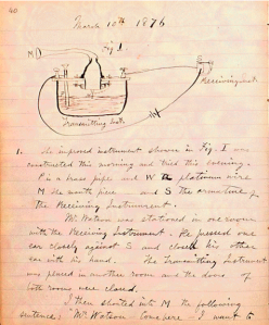 "Cuaderno de notas de Alexander Graham Bell. 10 Marzo de 1876. ""Mr. Watson -- come here -- I want to see you"" (tomada del Alexander Graham Bell Family Papers, Library of Congress de los EE.UU.)"