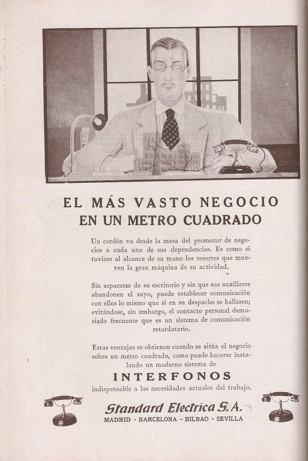 Anuncio. Revista Telefónica Española marzo 1929.