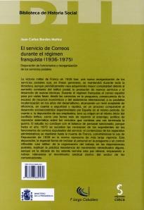 """Contraportada """"El Servicio de Correos durante el régimen franquista (1936-1975)"""""""
