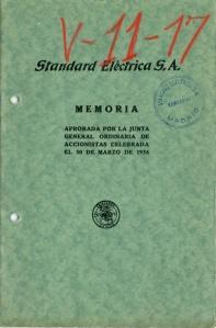 Portada Memoria SESA aprobada en 1936. Imagen cedida por Alcatel-Lucent España S.A.U.