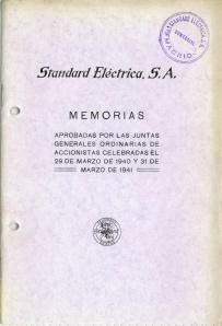 Portada Memorias Standard Electrica 1940 y 1941. Imagen cedida por Alcatel-Lucent España S.A.U.