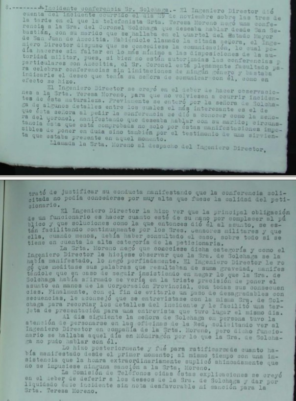 Informe sobre Incidente por prohibiciñon de conferencia con un militar. Acta 3 Comisión teléfonos, Fuente: Archivo general de Guipuzcoa