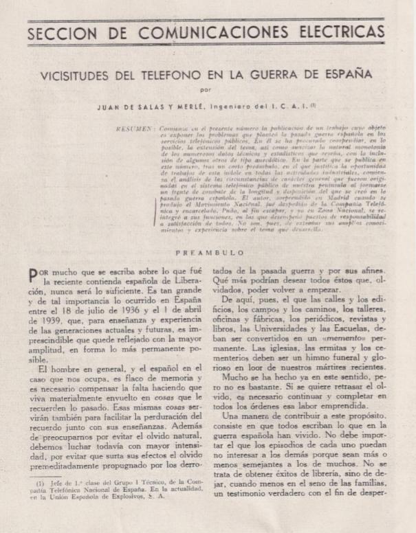 Vicisitudes del Teléfono en la Guerra de España