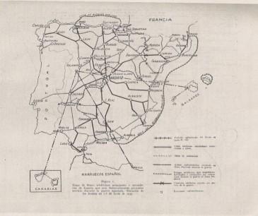 Mapa situación comunicaciones en la Guerra civil