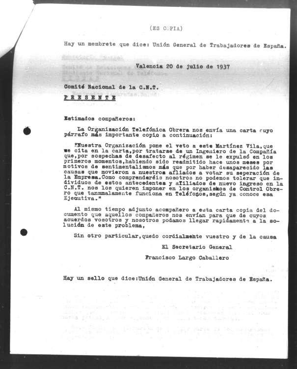 acnt021 Copia de un escrito firmado por Largo Caballero