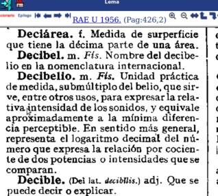 Decibel y Decibelio en el Diccionario de la Lengua de 1956