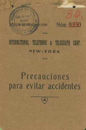 Portada de Manuel Técnico de ITT para CTNE, 1929,