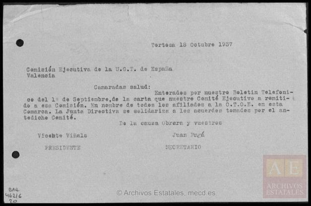 cdmh029 (CDMH_BAR_C0462), carta de 18 oct 1937 con referencia al Boletín de la CTNE