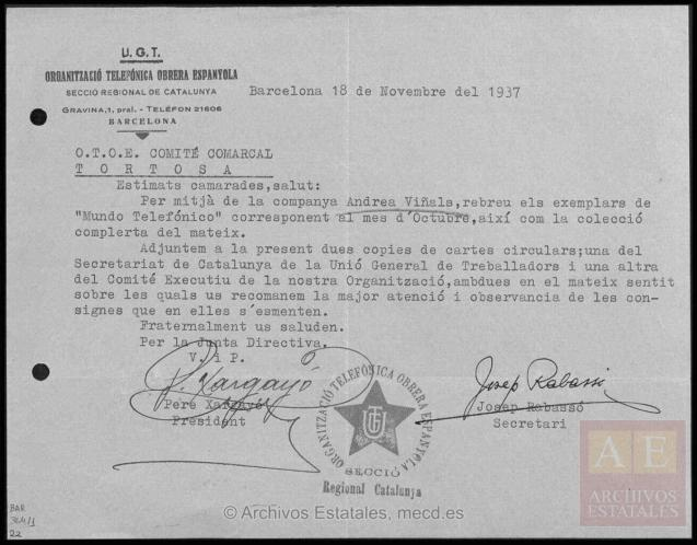 cdmh037 (CDMH_PS_BAR_C0469), carta del 18 octubre de 1937 con referencia al Boletín Telefónico