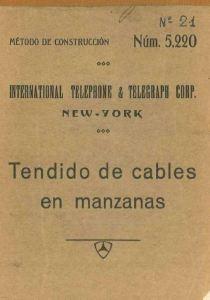 "Portada de ""Tendido de cables de manzanas"", ITT, 1927"
