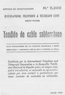Portada_1926_MetodoConstruccion ITT 018 Tendido Cables Subterraneo