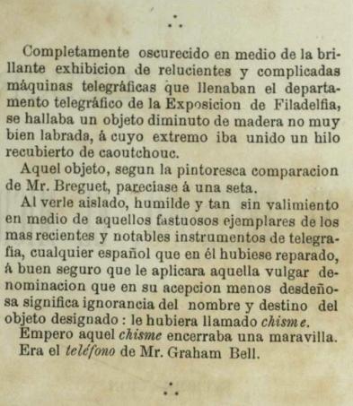 El invento de G. Bell en la Exposición Universal de Filadelfia en 1876, pág 4.