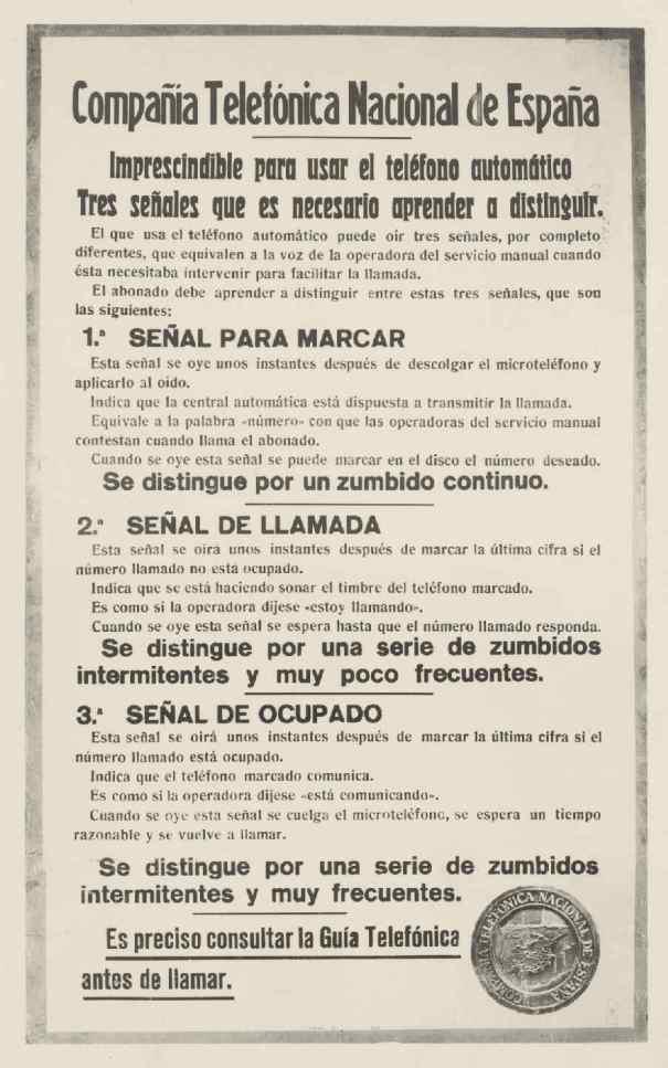 """Cartel didactico """"señales teléfono automatico"""" años 20. Archivo Fundación Telefónica"""