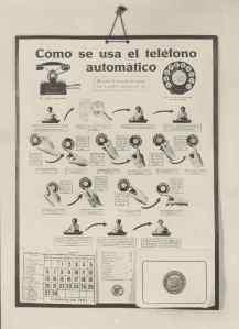 Cartel calendario 1927. Cómo se usa el telefono automatico. Archivo Fundación Telefónica.