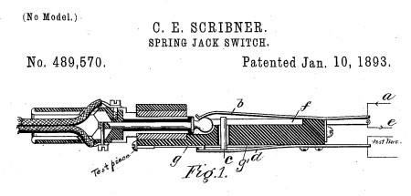 Patente 489 570 del Jack Switch 1893 C. E. Scribner
