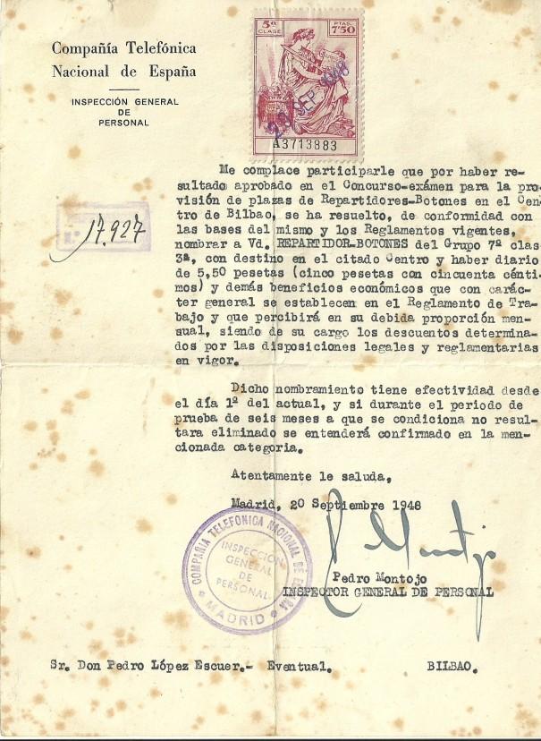 Nombramiento de Repartidor-Botones de la CTNE en 1948. Cortesia de Mikel L. Villanueva.