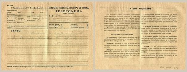 Impreso de Telefonema de la CTNE. Imagen archivo UCM.