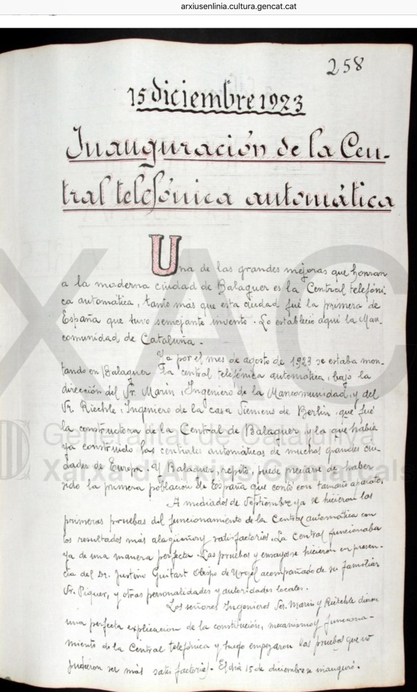 Balaguer 1923. Primera central telefónica automática en España