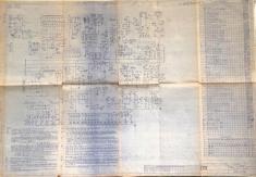 Plano de un órgano de central de Barras cruzadas Pentaconta. Estos planos se utilizaban por los operadores de la central para seguir los elementos de la central en la identificación de averías