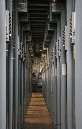 Bastidores de una central de conmutación telefónica del sistema Pentaconta