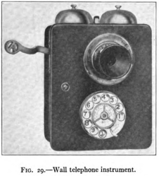 Teléfono de pared con disco. Del libro Automatic Telephony de 1914