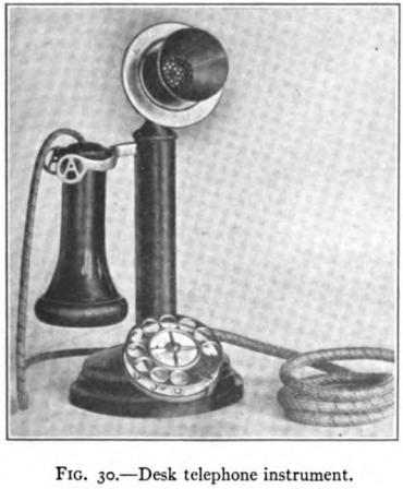 Teléfono tipo candelabro con disco. Del libro Automatic Telephony de 1914