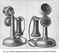 Teléfono tipo candelabro con disco añadido. Del libro Automatic Telephony de 1914