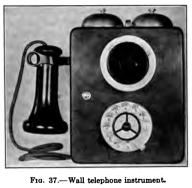 Telefono mural con disco. Del libro Automatic Telephony de 1921