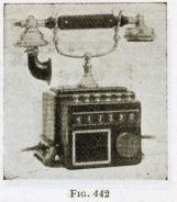 Teléfono con marcación por pulsadores y visor. Enciclopedia Espasa tomo 60 fig 442. 1928