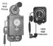 Teléfonos Siemens&Halske con disco. El mural es un intercomunicador local. 1910-20. (telephonecollecting Australia)