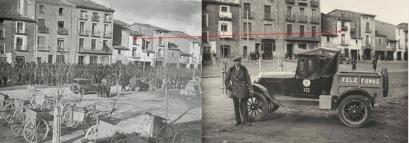 Plaza de Ayerbe. Los edificios marcados son los mismos.