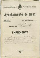 Portada del Expediente del Ayto. de Reus 1927