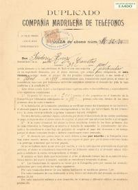 Duplicado Contrato de abono Compañía Madrileña de Teléfonos 1919. Archivo Histórico EA4DO