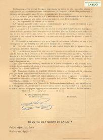 Reverso Duplicado Contrato de abono Compañía Madrileña de Teléfonos 1919. Archivo Histórico EA4DO.