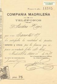 Recibo fianza abono Compañía Madrileña de Teléfonos 1919. Archivo Histórico EA4DO