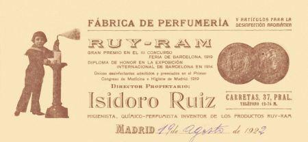 Papel timbrado. Cabecera de Carta Comercial 1922 con inclusión del número telefónico. Archivo Ruiz-Ramos