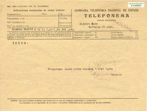 Telefonema enviado el 10 de mayo de 1930. Archivo Histórico EA4DO