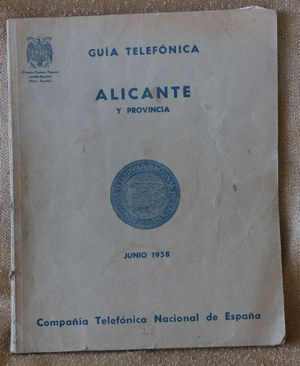 guia telefonica alicante 1958