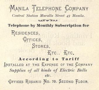 Anuncio de 1901 de la Sociedad de los teléfonos de Manila