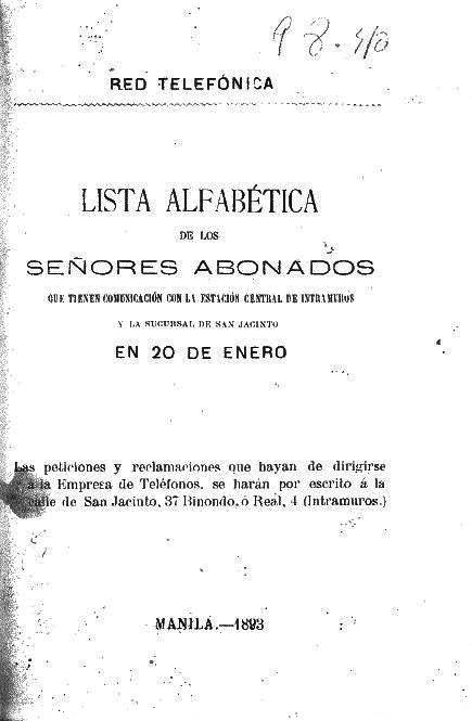 Lista de abonados Manila 1893