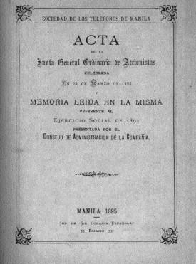 Memoria Sociedad de los teléfonos de Manila 1894.