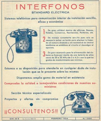 Anuncio 1954 Interfonos Standard Eléctrica página 1