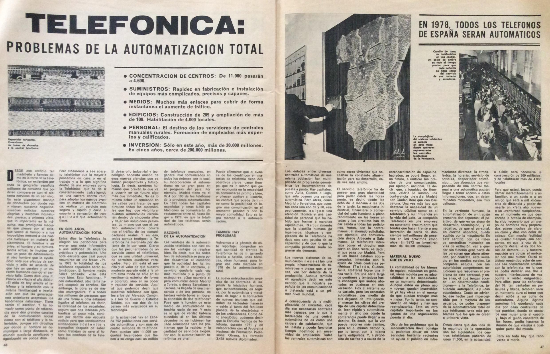 """Articulo a dos páginas. """"Sábado Gráfico"""" junio 1972"""